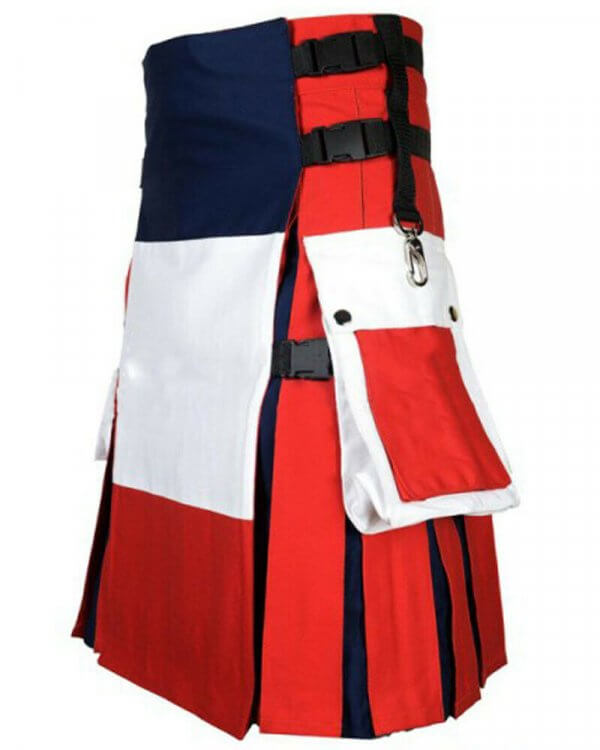 Scottish Men 100% Cotton Utility Kilt French Flag Kilt
