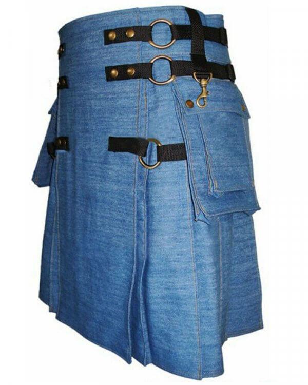 Mens Denim Fashion Kilts For Sale