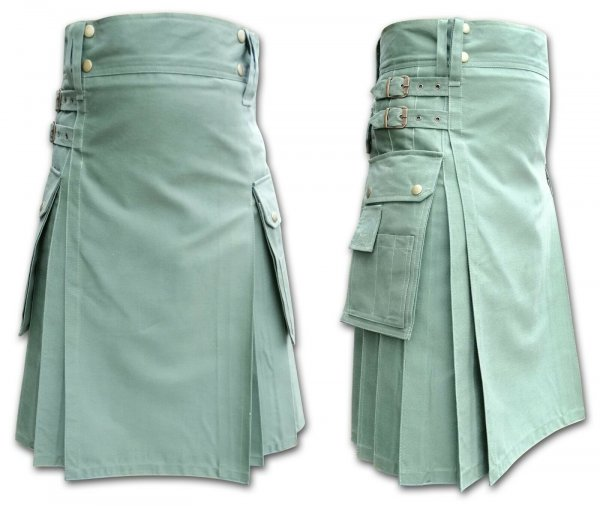 Men's Modern Khaki Green tactical Utility Kilts