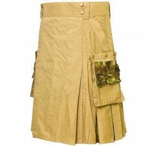 New Scottish Fashion Utility Hybrid Kilts Khaki And Acrylic Wool Tartan For Men