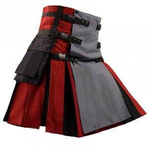 Scottish Utility Fashion Hybrid Kilt For Men Red-Grey Color With Black Pleats