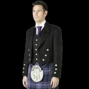 Scottish Barathea Wool Prince Charlie Kilt Jacket With & 5 Button Waistcoat