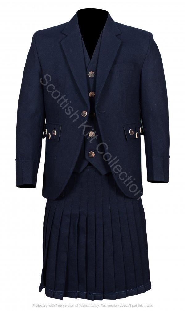 Men's Scottish Navy Blue Wool Argyle Kilt Jacket wedding dress