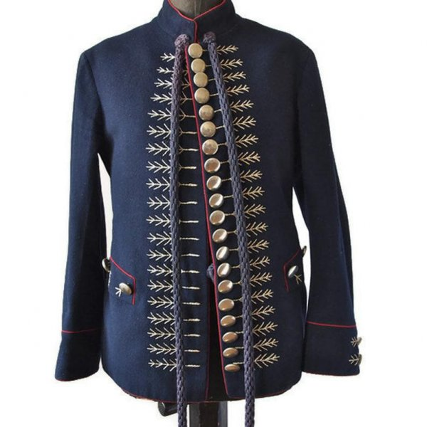 Men's Sokol Costume Embroidered Military Jacket Navy Blue and Golden Buttons