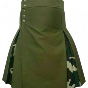 Hiking Hybrid Olive Green Kilt For Men - Under Pleats Camo