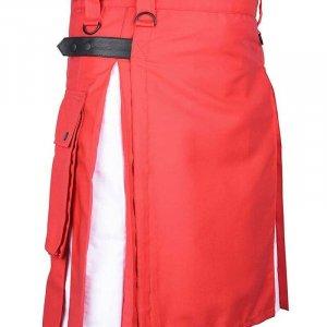 Scottish Fashion Utility Hybrid Kilts For Men Red Kilt White Pleats