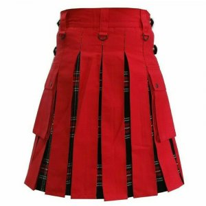 Scottish Fashion Utility Hybrid Kilts Red Color Acrylic Wool Tartan