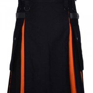 Scottish Men 100% Cotton Fashion Black and Orange Hybrid Kilt Men