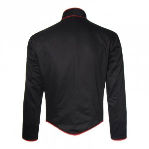 Black Hussar Military Jacket with Red Piping