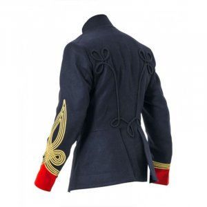Navy Blue and Red British Military Hussar Jacket