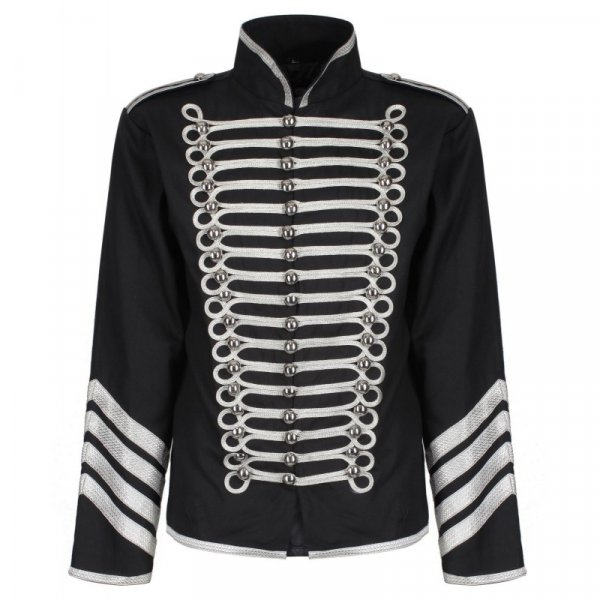 Black Silver Hussar Parade Gothic Jacket Military Drummer Steampunk Military drummer steampunk Jacket withSilver trim and braid on front