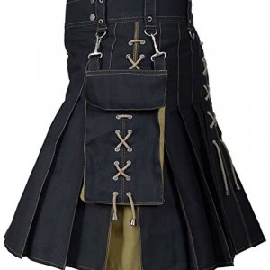 Fashion Utility Hybrid Kilt Black And Khaki