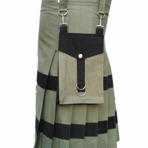 Scottish Fashion Olive Green Utility Kilts For Men 100% Cotton