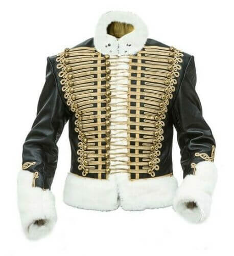 Leather Prussian Hussars Pelisse Jacket with white Fur