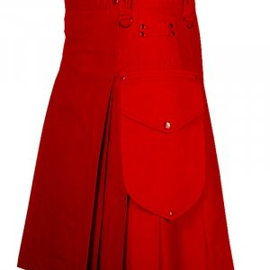 Red Scottish Fashion Utility Kilts For Men