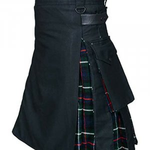 High Quality Cotton Utility Hybrid Kilt black color with Mackenzie Tartan pleat