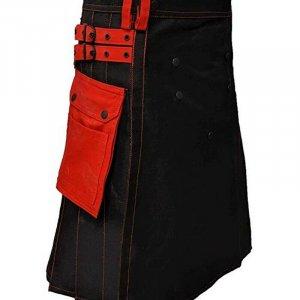 Scottish Men 100% Cotton Utility Kilt Black with Red Pockets
