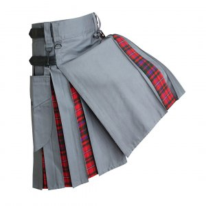 Heavy Cotton Hybrid Kilt Grey Color With Tartan