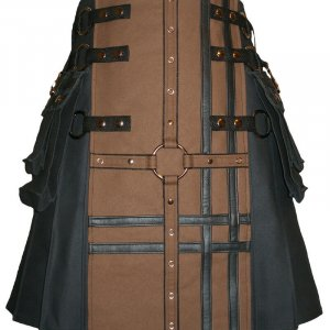 New Scottish Traditional Fashion Kilt Black And Brown Kilts