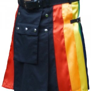 Scottish Fashion Utility Hybrid Kilts Gay For Men Black Color With Six Pleats