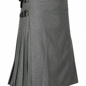 Highland Traditional Scottish premium quality 8 Yard Professional Gray Wool Kilt