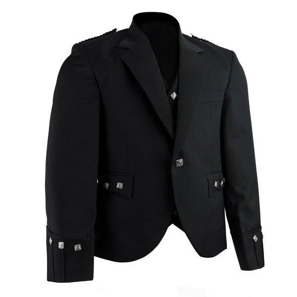 Men's Kilt Jacket Black Argyll Jacket & 5 Buttons Waistcoat