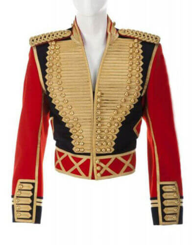 hamzMen's  Military Officer Jacket Red And Black Cotton