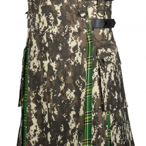 Men Military Digital Camo Utility Hybrid Kilt Irish Tartan Under Pleated