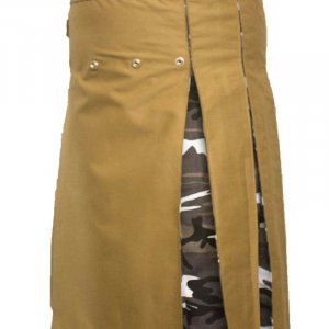 Fashion Hybrid Scottish Kilt Khaki With Camo Pleat Kilts For Men