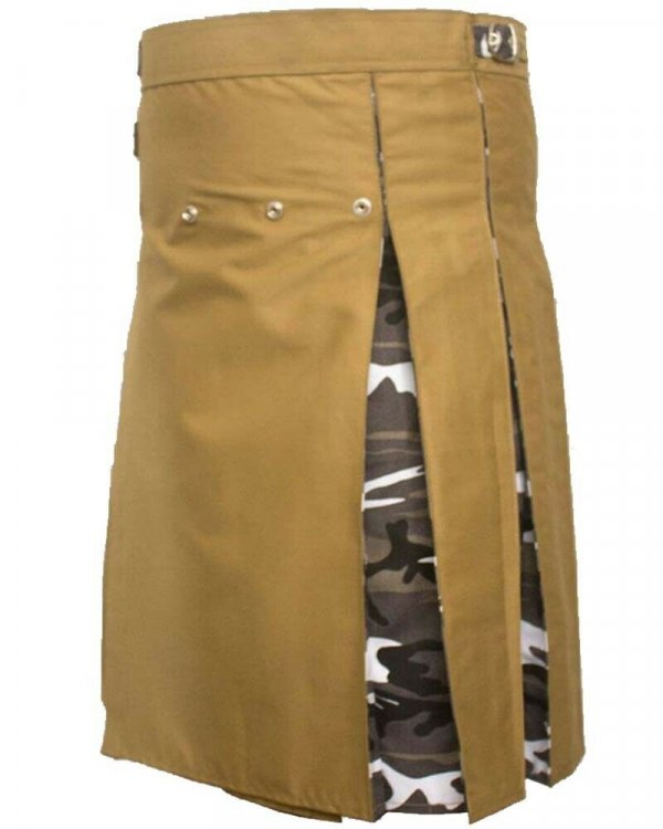 Fashion Hybrid Scottish Kilt Khaki With Camo Pleat Kilts For Men