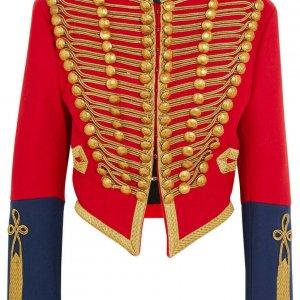 Women's Red Embellished Wool-felt Military Officer Jacket