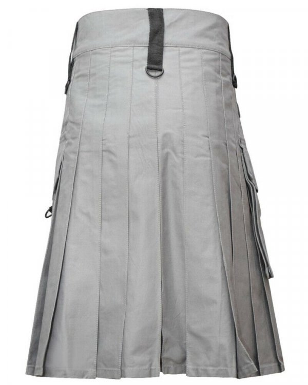 Scottish Modern Custom Grey Kilt Fashion Utility Kilts For Men