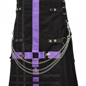 Scottish Modern Black & Purple Kilt Fashion Kilts For Men