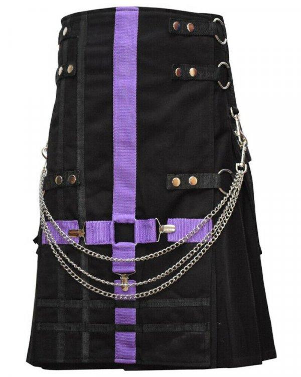 Scottish Modern Black & Purple Kilt Fashion Kilts For Men