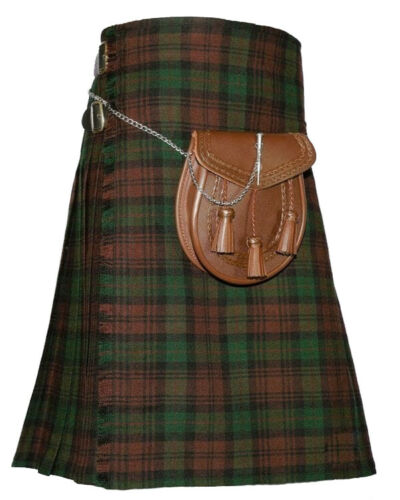 Traditional Brown Watch Tartan kilt Custom Made Leather Strap