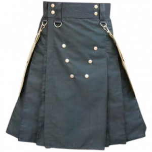 Scottish Black Utility Kilt Detachable Khaki Pocket