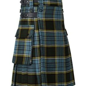 Men's Scottish Highland Anderson Tartan Utility Kilt with Cargo Pockets