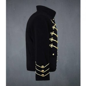 Black Military Jacket with Gold Embroidery