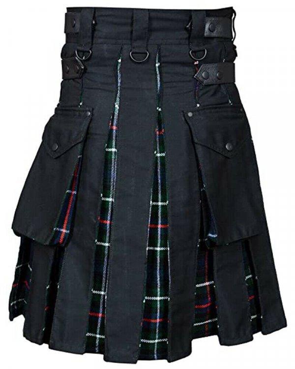 High Quality Cotton Utility Hybrid Kilt black color with Mackenzie Tartan pleat