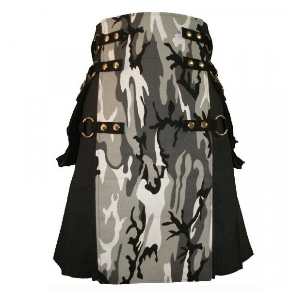 Stylish Scottish Fashion Camouflage Kilt Tactical Black Urban Kilts
