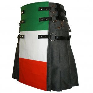Scottish Men 100% Cotton Utility Kilt Italian Flag Kilt