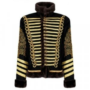 HUSSAR BLACK FAUX FUR MILITARY WOOL JACKET