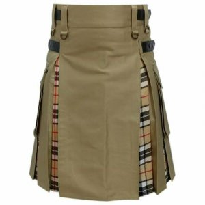 Scottish Fashion Utility Hybrid Kilts Khaki Acrylic Wool Tartan