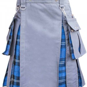 Men's High Quality Grey Cotton Utility Hybrid Kilt