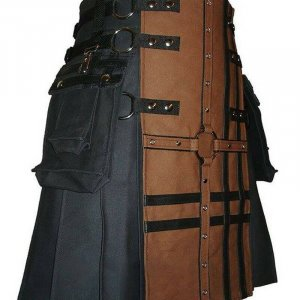 New Scottish Traditional Fashion Kilt Black And Brown Kilts