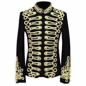 Men's Vintage Black Gold Embroidery Suit Jacket
