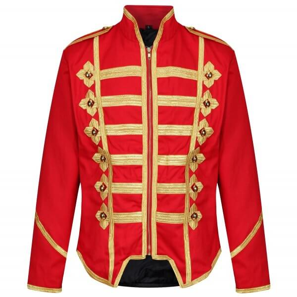 Men's Military Army Gold Hussar Drummer Officer Music Festival Parade Jacket