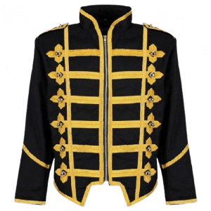 Men Military Army Gold Hussar Drummer Halloween Festival Parade Jacket