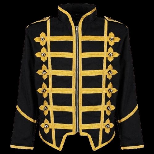 Men Military Army Gold Hussar Drummer Halloween Festival Parade Jacket