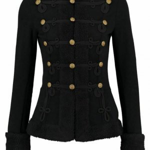 New Black Ladies Fur and Wool Coat Braid Jacket